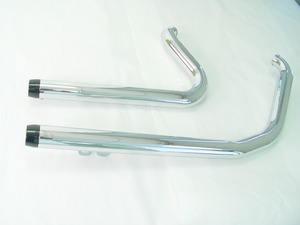 Chrome 1 3/4 Sportster Drag Pipes With Black Billet Exhaust End Tip