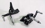 Black Forward Control Drilled 70-99+2 With Chrome Xtreame Foot Pegs For FXST,FXE,FLH,FLST Models