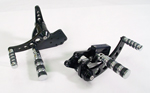 Black Forward Control Drilled 70-99+2 With Chrome Wide Band Foot Pegs Fit FXST, FLST Models
