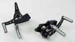 Black Forward Control Drilled 1970-1999 +2 With Chrome Concave Foot Pegs Fits FL,FX,FLST and FXST Harley Models