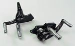 Black Forward Control Drilled 1970-1999 +2 With Chrome Billet Groove Foot Pegs Fits FL,FX,FLST and FXST Harley Models