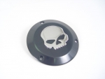 Black Derby Cover Billet Skull Chrome For Harley 1970-1998 3/Holes
