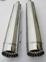 MUFFLERS 4 1/2 INCH FOR HARLEY ALL DRESSER & GLIDES 1985-2016 CHROME W/ CFR TYPE ID CONTRAST EXHAUST TIP CHROME
