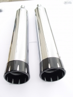 MUFFLERS 4 1/2 INCH FOR HARLEY ALL DRESSER & GLIDES 1985-2016 CHROME W/ DAGGER EXHAUST TIP BLACK