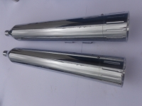 MUFFLERS 4 1/2 INCH FOR HARLEY ALL DRESSER & GLIDES 1985-2016 CHROME W/ BALL MILLED EXHAUST TIP CHROME