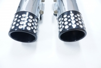 MUFFLERS 4 1/2 INCH FOR HARLEY ALL DRESSER & GLIDES 2017-LATER CHROME W/ SWISS CHEESEL EXHAUST TIP BLACK