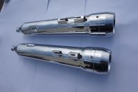 MUFFLERS 4 1/2 INCH FOR HARLEY ALL DRESSER & GLIDES 1985-2016 CHROME W/ 5 INCH TAPER EXHAUST TIP CHROME
