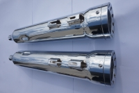 MUFFLERS 4 1/2 INCH FOR HARLEY ALL DRESSER & GLIDES 1985-2016 CHROME W/ 5 INCH HIGH OUTPUT EXHAUST TIP CHROME